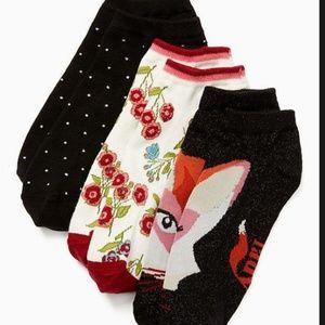 kate spade no show sock set of 3 fox theme nwt